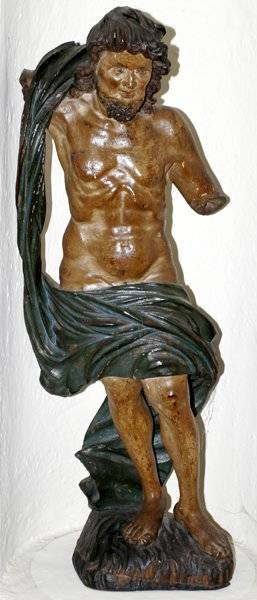 092212 CARVED WOOD POLYCHROME SANTOS STANDING FIGURE