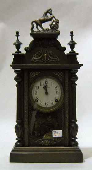 Japanese mahogany mantle clock