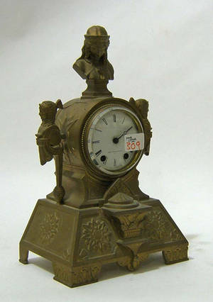 Seth Thomas gilt metal mantle clock