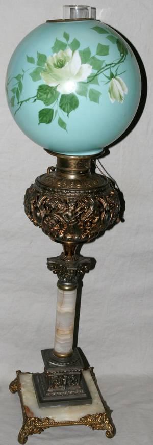 092309 BRASS  MARBLE BANQUET LAMP H 22 14 DIA 7