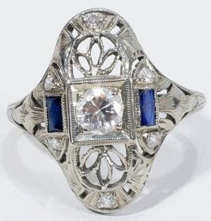 091303 WHITE GOLD FILIGREE DIAMOND  SAPPHIRE RING