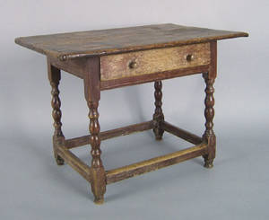 New England painted pine and maple tavern table 18th c