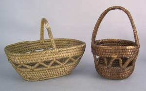 Two Pennsylvania rye straw handled baskets ca 1900
