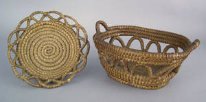 Two Pennsylvania rye straw baskets late 19th c