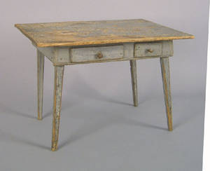 New England painted pine childs tavern table 19th c