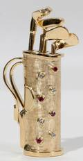 081252 14KT YELLOW GOLD DIAMOND RUBY GOLF BAG PIN