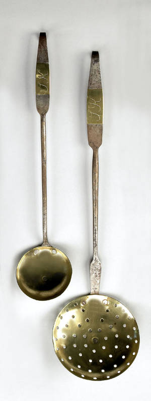 Pennsylvania wrought iron and brass ladle and skimmer early 19th c