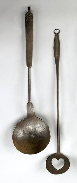 Pennsylvania wrought iron spatula dated 1771 in brass