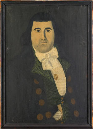 Pair of New England oil on panel folk portraits late 18th c