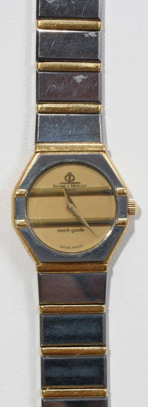 062206 BAUME MERCIER STAINLESS AND GOLD WATCH