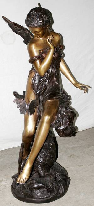 102268 BRONZE FIGURAL FOUNTAIN SCULPTURE ANGEL