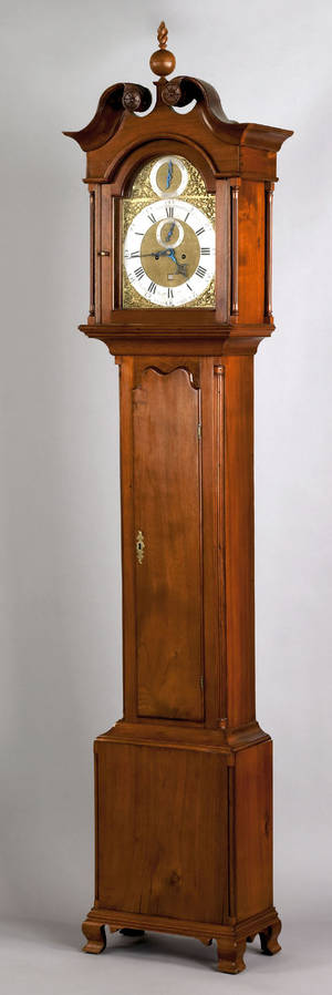 Chester County Pennsylvania Chippendale walnut tall case clock