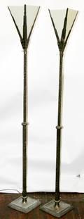 102223 ARTS  CRAFTS CAST BRASS TORCHIERE FLOOR LAMPS