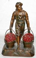 102221 SPELTER  GLASS FIGURAL LAMP H13 W8
