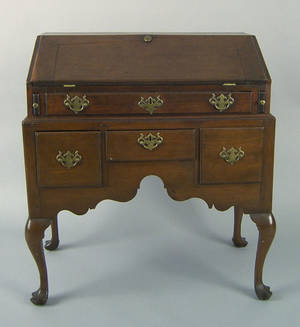 Pennsylvania Queen Anne walnut desk on frame ca 1765