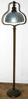 102215 HANDEL BRONZE FLOOR LAMP BASE ART GLASS SHADE