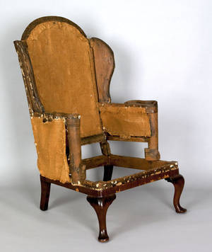 New York or New England Queen Anne mahogany and maple wing chair ca 1750