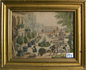 Color engraved courtyard scene