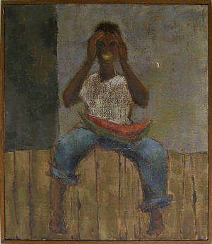 Oil on canvas of an African boy with a watermelon