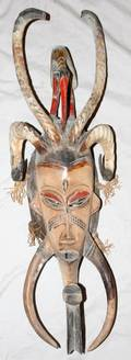 090248 AFRICAN CARVED WOOD MASK W 9 L 27