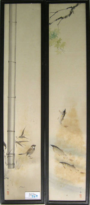 Three Japanese painted silk panels