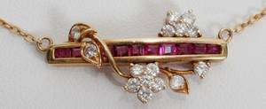 071294 14KT YELLOW GOLD DIAMOND  RUBY NECKLACE