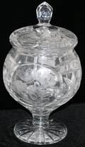 071273 CUT  ETCHED GLASS COVERED JAR MODERN H 16