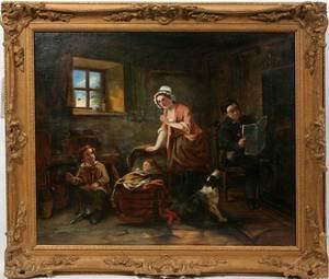 062265 EUROPEAN OIL MOTHER 2 CHILDREN  DOG