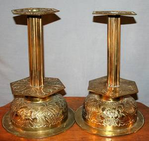 100298 MIDDLE EASTERN STYLE BRASS CANDLESTICKS