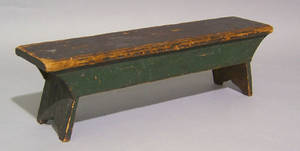 Painted pine childs bench 19th c