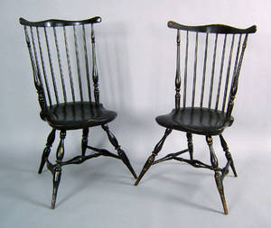 Pair of Rhode Island fanback windsor side chairs ca 1795