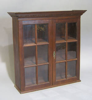 Pennsylvania hanging cherry wall cupboard ca 1800