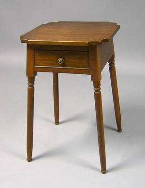 Pennsylvania walnut and cherry one drawer stand early 19th c