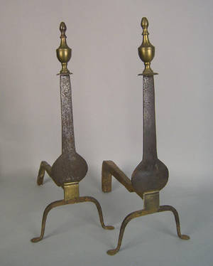 Pair of Federal knife blade andirons ca 1800