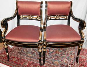 080324 REGENCY STYLE UPHOLSTERED ARM CHAIRS C 1970