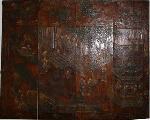 072298 CHINESE LACQUERED 4 PANEL SCREEN H 72 L 63