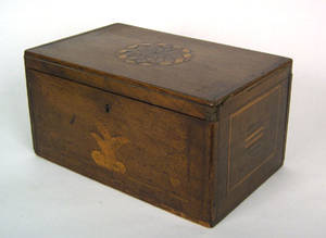 New England inlaid mahogany box mid 19th c