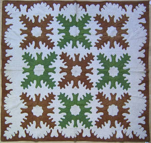 Green and brown applique quilt a 1900