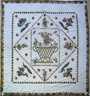 New England large applique chintz square in a diamond quilt ca 18201830