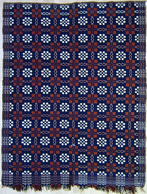 Red white and blue overshot coverlet 19th c