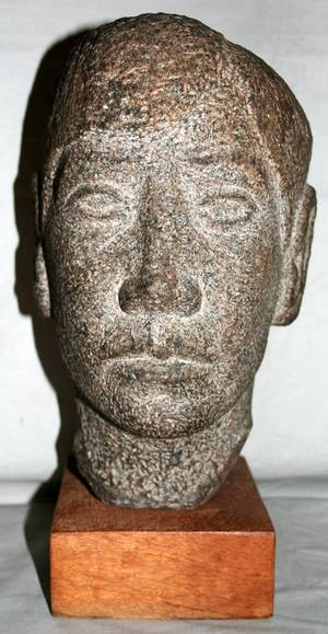 102331 STONE SCULPTURAL HEAD OF A MAN H115