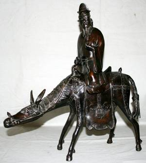 102330 CHINESE BRONZE SCULPTURE MAN ON HORSEBACK