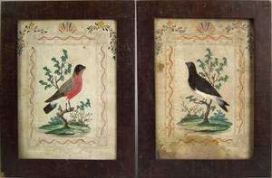 Pair of watercolor feather and pinprick drawings of birds 19th c