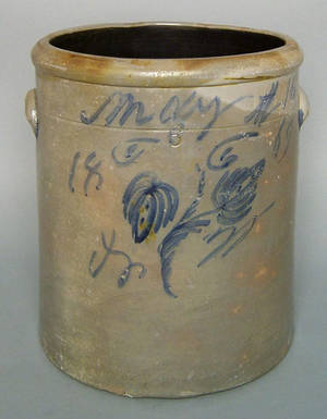 Six gallon stoneware marriage crock dated May 16 1869