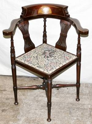 101449 ENGLISH MAHOGANY CORNER CHAIR WSATINWOOD