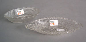 Two Pittsburgh pressed glass relish dishes
