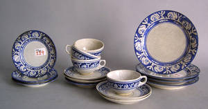 Sixteen piece Dedham rabbitware to include 4 cups and saucers