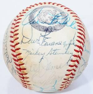 100240 DETROIT TIGERS TEAM SIGNED BASEBALL C 19745