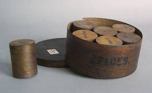 Bentwood spices box with 7 interior canisters