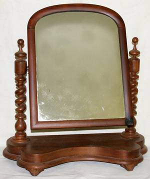 081377 ENGLISH VICTORIAN WALNUT DRESSING MIRROR